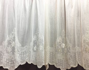 Sheer Fabric - Polyester Patterned Sheer Panel - White or Champagne Sheer  - Decorative Shaped Hem  - Singed Flower Fabric - P014 - 1 Panel