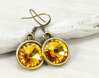 Sunflower Earrings Warm Golden Yellow Swarovski Crystal Earrings Vintage Style Antique Brass Jewelry Customized Personalized Color