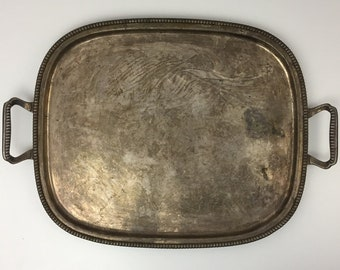 "Vintage Meridonal Silver Plate Silverplate Ornate Heavy Tray With Handles ""100"" Made In Brazil"
