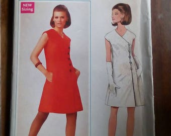 """1960s Dress - 38"""" Bust - Butterick 4717 - Vintage Retro Sewing Pattern"""