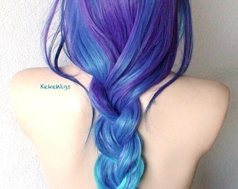 Ombre wig. Blue/ Teal blue / Purple Ombre wig. Durable heat friendly synthetic wig for daily use or Cosplay.