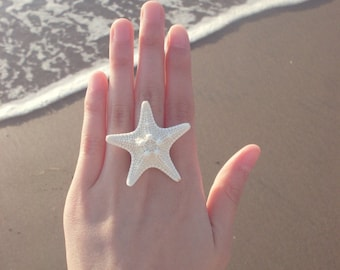 White Starfish Ring Mermaid Jewelry Nautical Ariel Accessories Bride Bridal Bridesmaids Beach Weddings Girlfriend Womens Gift For Her Summer