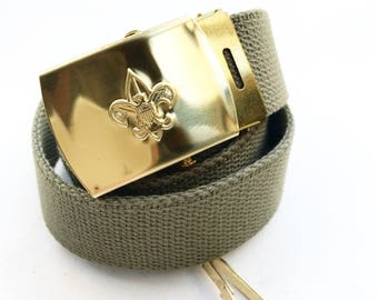 Vintage Boy Scout Belt with Brass Buckle