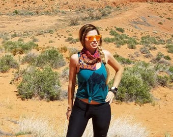 Hiking Shirt, MOUNTAINS T shirt, FOX TShirt, Camping Shirt, Womens Graphic Tee, Racer Back Tank Top American Apparel Tri-Blend Tee S M L