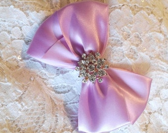 Light Orchid Satin Hair Bow with Rhinestone Center, Light purple Flower Girl Hair Bow, Hair Bow, Christmas Hair Bow, Pageant Hair Bows