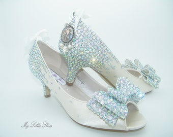 Rhinestone memorial charm low peep toe heels with bow detail ~ Bridal shoes, Unique wedding shoes, Bouquet charm, Photo charm, Lost love