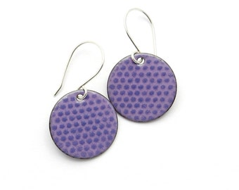 Purple Enamel Earrings - Handmade Polka Dot Jewelry - Sterling Silver - Birthday Gift for Girlfriend
