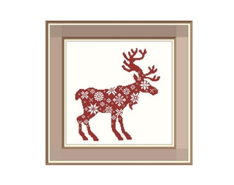 "Cross stitch pattern ""Reindeer"",Instant download PDF"