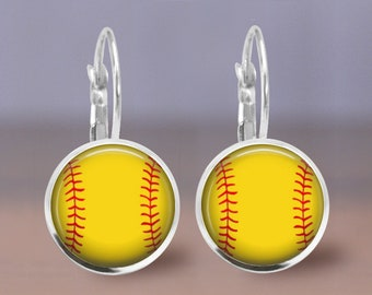 Softball Yellow Seam Print Small Leverback Stud Post Fish Hook Wire Earrings, Gift for her, Sports Mom Earrings, Gracie V Jewelry Designs