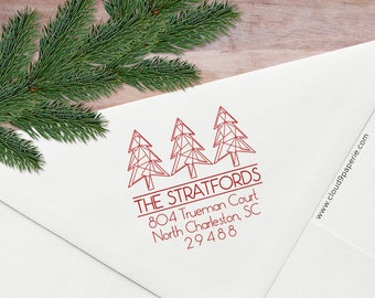 Christmas Address Stamp, Holiday Address Stamp, Geometric Christmas Trees, Modern Holiday Return Address Stamp, Wood or Self Inking S036
