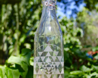 16oz. Sri Yantra Etched Clear Glass Bottle With Swing-Top Lid