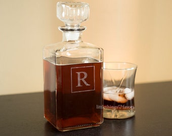 Monogram Whiskey Decanter, Groomsmen Gift, Engraved Decanter, Groomsmen Gifts, Home Bar, Man Cave, Boyfriend Gift, Fathers Day Gift