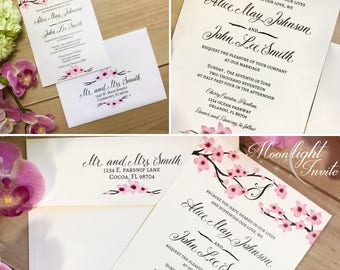 Spring Cherry Blossom Wedding Invitation Japanese Flower romantic event