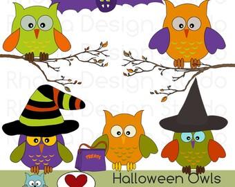 Halloween Owls Clip Art Digital Fall Woodsy Birds