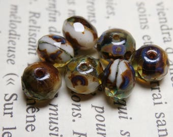 10 faceted Czech glass 7X5mm, amber-aqua R703 picasso finish