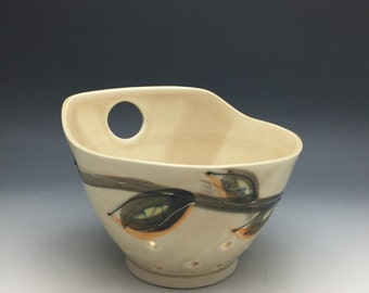 Bowl, Berry Bowl, Strainer, Colander, Serving, Brown, Tan, Leaves, Flower, Porcelain, Pottery, Handmade, Modern Ceramics, Unique