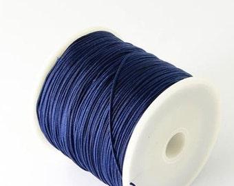 10 yards Navy Blue Nylon Cord - 1mm Macrame Shamballa Chinese Knotting Cord - Jewelry Making Stringing Material - N074