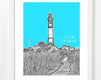 Fire Island Print -  Fire Island New York Skyline Poster - Fire Island City Skyline Series Art -
