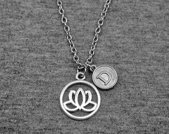 Silver Lotus Necklace -Initial Charm Necklace -Your Choice of A to Z