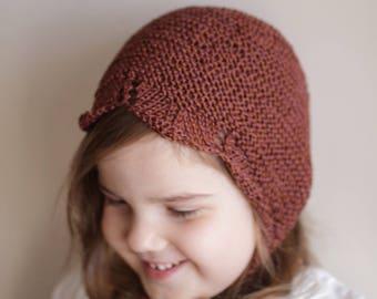 3-5 year bonnet, toddler bonnet, cotton bonnet, brown bonnet, ready to ship, rts, autumn bonnet, spring bonnet, earth color, knit bonnet hat