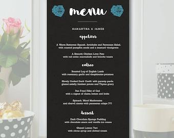 Wedding Menu Template - Dark Chalkboard - Photoshop PSD *INSTANT DOWNLOAD*
