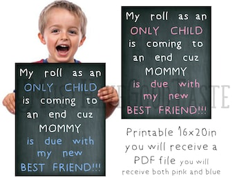 Big bother pregnancy announcement, Big Sister pregnancy announcement, My new best friend, Printable chalkboard, 16x20,pregnancy announcement