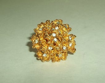 Vintage  Gilded Gold Rhinestone Ring