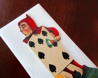 vintage blank card - Alice In Wonderland, gardener, knave, spades