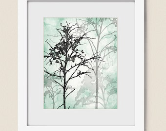16 x 20 Mint Green Tree Wall Art for Bedroom, Black Wall Decor, Tree Wall Print, Teal Decor for Wall, Tree Art Print, Tree Print  (29)