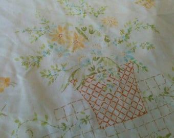 SALE! Vintage Twin Size Flat Sheet - Basket of Flowers Sheet - Farm Chic, Country Cottage Flat Sheet