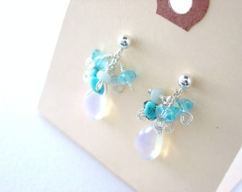 Blue Gem Cluster Earrings / Opalite / Blue Quartz / Amazonite / Turquoise / Genuine Stones / Handmade / Sterling Silver / Post Earrings