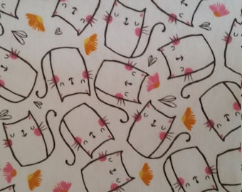 SALE 20% OFF Cotton Flannel Fabric - By the Yard - Cats on White, Soft, Kitties, cat, pink, delicate, neutral
