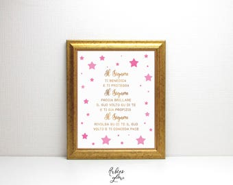 ITALIANO Benedizione Numeri 6 - Aaronic Blessing - in Pink for Baby Girl - The Way To Bless Our Children - Nursery Stars Wall Decor -Digital