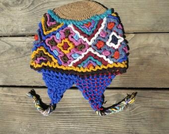 Crochet Peruvian Chullo - Earflap Hat - Unique and Fun! - Soft, No Itch - Size Child