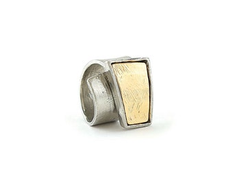 Matte gold and pewter ring (adjustable) - THOMAS GOLD
