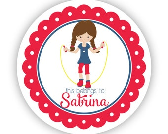 Name Tag Stickers - Red Blue Sticker, Jump Rope Playground Recess Personalized Name Label Stickers - Back to School - This Belongs To Labels