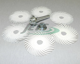 "3M Radial Bristle Disc 2"" 6 Pcs White Discs 120 Grit Scotch-Brite + Mandrel (3E)"