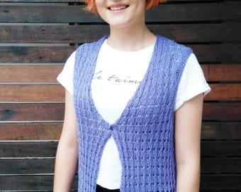 Ladies Purple Hand Knitted Vest