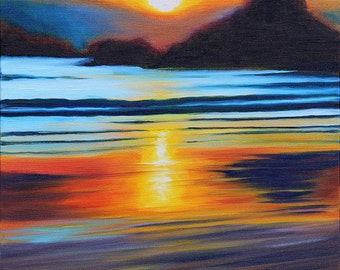 GICLEE Reproduction on 8.5x11 Fine Art PAPER - West Coast Sunset by Daina Scarola (sun reflection, wet sand, low tide, ocean)