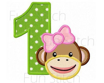 Girl sock monkey birthday applique numbers machine embroidery design