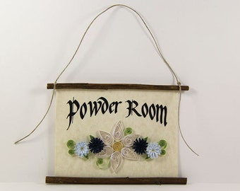 Powder Room Paper Quilled Sign, 3D Quilled Banner, Rustic Wall Art, White Navy Blue Bathroom Flowers, Paper Filigree  Floral Bath Decor
