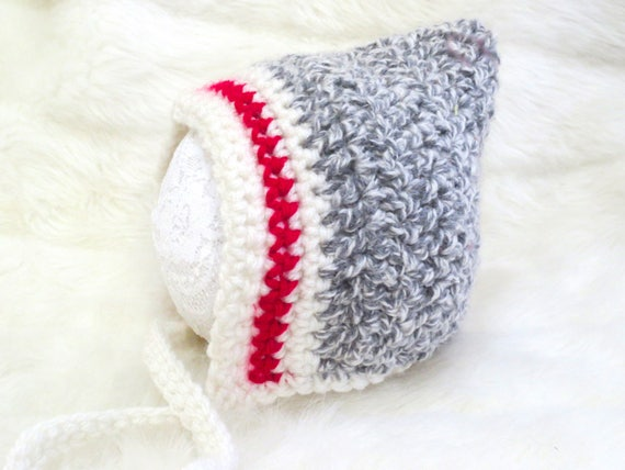 Grau häkeln Neugeborenen Mütze Pixie Hut Bau Sock Monkey