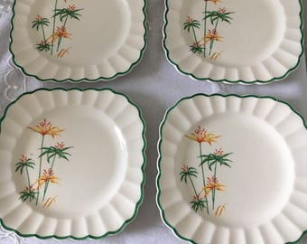 Plates, Vintage Plates, Sebring Pottery Company Four Dessert/Bread and Butter Plates