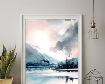 Modern Art Print of Landscape, Watercolor Painting Art, Blue Nature Painting Art, Landscape Wall Art, Abstract Realism Art