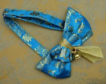 Oriental Gold-Blue Cat Bow Tie Collar Bell - Gold Bow Tie for Cats with Golden Bell -  Blue Gold Festive Bowtie - Hipster bowtie cat