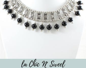 The Chic' n ' Sweel, luxurious necklace stainless steel with beads and Czech stones