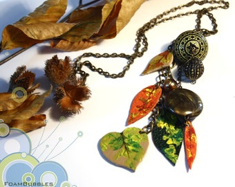 Autumn Necklace with Hand painted Leather Leaves. Colorful Fall Necklace. Fall Leaves necklace. Leather Necklace. Statement Fall Necklace.