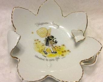 Holly Hobbie 1973 fine porcelain triniket dish with butterfly. Free ship
