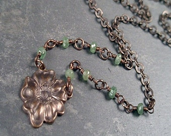 Allison Necklace - Tsavorite Garnets and Natural Brass