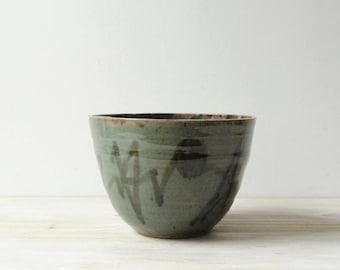 Vintage Handmade Pottery Bowl, Green Ceramic Bowl, Serving Bowl, Studio Pottery Bowl
